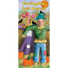 The Scarecrow Photo Stand In is a a fun fall activity and is perfect for pictures. Each scarecrow photo op is 34 inch wide x 74 inch high and is made of sturdy cardboard. Easy assembly.
