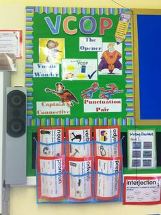 VCOP superheroes & working grammar display- pupils add word ideas to the pouches to help each other build adventurous vocabulary in writing.