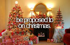 <3 I've always had this dream to be proposed to on Christmas EVE. I think it would be cute to have the ring hanging from the mistletoe, sort of near a door arch, so I would see it as we're walking outside into the soft falling snow. Or on New Years in my Champagne Glass!