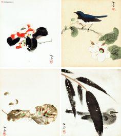 quattro stagioni.Pregiato polittico di pitture su shikishi (色紙), dedicate al ciclo delle stagioni giapponesi, realizzato nei laboratori artistici della Otsuka Kogeisha (大塚巧藝社) di Kyoto, riproduzione di quattro opere del pittore Kosugi Hoan . Da sinistra a destra e dall'alto in basso vediamo che la primavera è rappresentata da un fiore di camelia , l'estate da un pigliamosche blu e bianco , l'autunno da tre castagne  accanto una foglia appena caduta e, infine, l'inverno da un bulbul…