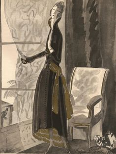 Costume. - 1921 Fashion Pochoir Lithograph Objective Bon Ton By Benito A Las Baleares