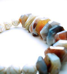 Natural Stone Bracelet . Botswana Agate . Howlite . Chunky . Bohemian . Chic