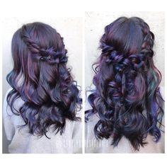 Oil spill balayage + braids