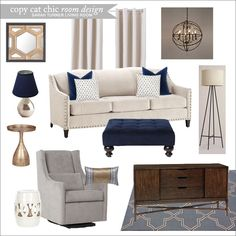 A sleek living room with navy blue accents Cream Living Rooms, Living Room Paint, New Living Room, Formal Living Rooms, Home And Living, Living Room Decor, Casual Coastal Living Room, Cream Sofa Living Room Color Schemes, Navy Blue Living Room