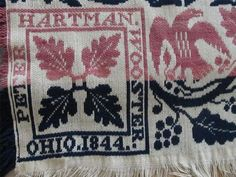 Antique Peter Hartman Original Woven Jacquard Coverlet 1844 Wooster Ohio Weaver
