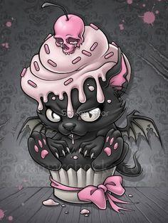 Art And Illustration, Fantasy Kunst, Fantasy Art, Dark Fantasy, Gothic Kunst, Pink And Black Wallpaper, Cupcake Tattoos, Cartoon Kunst, Cat Cupcakes
