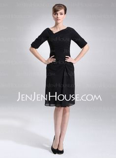Sheath V-neck Knee-Length Chiffon Mother of the Bride Dress With Ruffle (008005693)