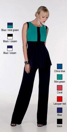 Top in jersey crepe di viscosa stretch (E1211: blu-panna, blu-verde menta, nero-panna); pantaloni palazzo in jersey crepe di viscosa stretch (E1416:  blu cina, corallo, verde menta, blu navy, rosso lacca, nero). Nicole Caramel