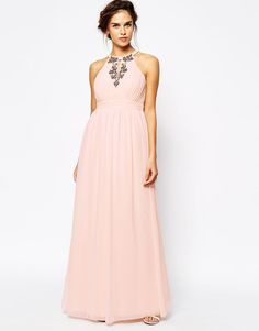 Little Mistress | Little Mistress High Neck Embellished Maxi Dress at ASOS