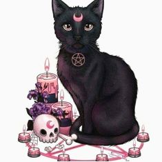 Magic of the black cat - random cool stuff - Cat Drawing Witch Art, Witch Aesthetic, Arte Horror, Creepy Cute, Gothic Art, Halloween Art, Dark Art, Cute Art, Art Inspo