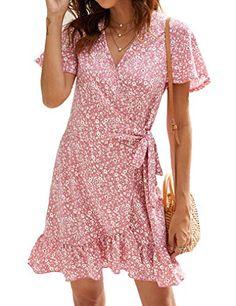 Naggoo Women's Summer Wrap V Neck Polka Dot Print Ruffle Short Sleeve Mini Floral Dress with Belt Naggoo Summer Dresses With Sleeves, Casual Summer Dresses, Summer Dresses For Women, Western Dresses For Women, Summer Wraps, Soft Summer, Ruffle Shorts, Dress Cuts, Wrap Dress