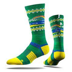 Strideline® 2.0 Diamond Head Green, University of Hawaii Green Crew Socks