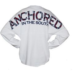 Anchored in the South Spirit Long Sleeve Jersey ($50) ❤ liked on Polyvore featuring tops, shirts, long sleeves, long sleeve tees, long-sleeve shirt, nautical shirts, oversized shirt, shirt jersey and nautical top