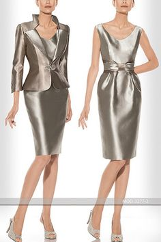 Vestido y chaqueta de fiesta color vainilla 1160134 de Sonia Peña