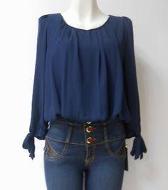 #Blusa azul #marino #gasa con amarre en puños corte #holgado