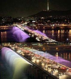 Han River light show at Banpo Bridge.