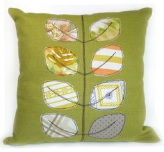 Vintage fabric applique leaf pillow - avocado and orange. By RobinsEggBlue on etsy