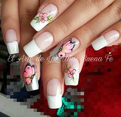 Pintado de uñas Butterfly Nail, Easy Sewing Patterns, Pink Art, Nail Decorations, Gorgeous Nails, French Nails, Manicure And Pedicure, Spring Nails, Nail Art Designs