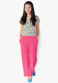A chic and classy look? It's all in this print and plain jumpsuit. Spandex fabric, gartered waist with side pockets. So stylish you'd want to hop all around the town! How To Look Classy, Spandex Fabric, Garter, Jumpsuits, Capri Pants, Pockets, Chic, Stylish, Pink