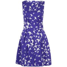Closet Bird Cut Out Skater Dress ($51) ❤ liked on Polyvore featuring dresses, blue, lullabies, clearance, cotton summer dresses, blue cotton dress, skater dress, blue dress and print skater dress