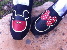 Mickey & Minnie Disney Shoes hand painted by KatieAppalseed