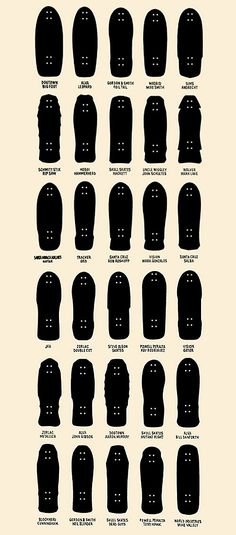 // skateboard shapes. Kinda want this framed on our wall at home.