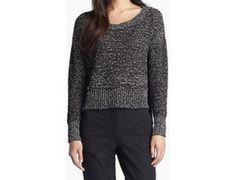 Eileen Fisher Sweater XS Black Wrapped Cotton Crewneck Speckle New #EileenFisher #Crewneck