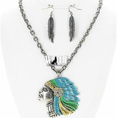 New Western Cowgirl Indian Chief Head Bling Women's Necklace Earring Set B | eBay