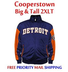 Detroit Tigers Tricot Track Jacket Big & Tall 2XLT NWT Majestic Cooperstown $65R #Majestic #DetroitTigers