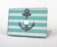 The Trendy Grunge Green Striped With Anchor Skin for the Apple MacBook Air - Pro or Pro with Retina Display (Choose Version) by TheSkinDudes on Etsy (null)