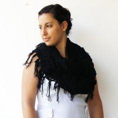 Vintage Black Crochet Handmade Wool Shawl $26