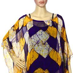 Batik poncho.Women's cruise wear.HAnd made by SHANInewyork on Etsy