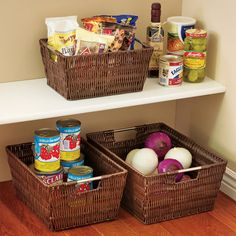 use decorative baskets to organize pantry. Love this idea for root veggies..