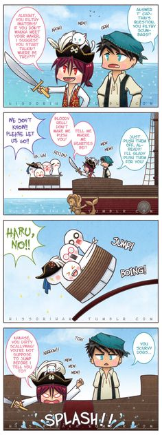 ++Sourin Pirates++ by hissorihaka on DeviantArt Makoto Tachibana, Makoharu, Yamazaki Sousuke, Anime Pirate, School Rumble, Amagi Brilliant Park, Anime Siblings, Free Eternal Summer, Splash Free