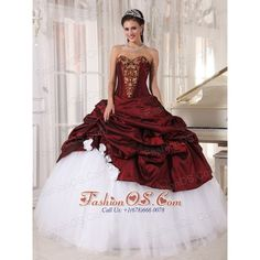 Best Burgundy and Sweetheart White Quinceanera Dress with Gold... via Polyvore