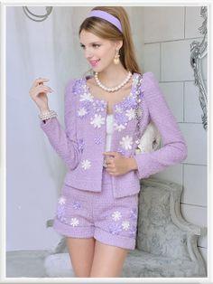 Morpheus Boutique  - Purple Knit Long Sleeve Ruffle Hem Floral Jacket Suit 2 Pieces, $239.99 (http://www.morpheusboutique.com/purple-knit-long-sleeve-ruffle-hem-floral-jacket-suit-2-pieces/)