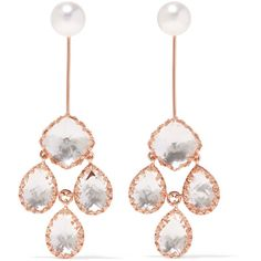 Larkspur & Hawk Antoinette Girandole rose gold-dipped, quartz and... ($3,000) ❤ liked on Polyvore featuring jewelry, earrings, rose gold, post earrings, rose gold pearl earrings, pearl earrings, cluster earrings and white pearl earrings