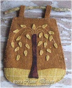 "Crane Design by Jan Mott Wool Applique Penny Rug & Punchneedle Patterns: New 2014 Wool Applique Pattern ""Sheep Oasis"" Plus Willow Tree Twig Bag"