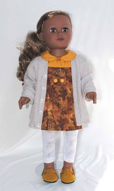 "my #etsy shop: 18 inch doll clothes, Autumn Doll Dress, Doll Sweater 18"", Gold Doll Shoes, White leggings, Doll Necklace, American Handmade Girl Doll Cloth http://etsy.me/2DNgjNC #toys #dollclothes #sweaters #orange #birthday #beige #valentinesday #18inchdollclothes"