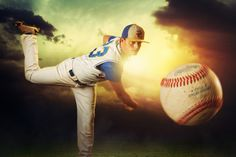 McClanahan Studio Pitcher Kyndell David throws a fastball at the camera against a dramatic sky for his baseball senior portrait. Created at Kansas School of Professional Photography by Dan McClanahan. Baseball Senior Pictures, Baseball Photos, Sports Photos, Senior Photos, Senior Portraits, Senior Boy Photography, Baseball Photography, Sport Photography, Senior Guys