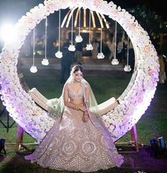 Bridal Bed to the Mehndi Swing - Bridal Seat Ideas from Rent Real Weddings to spruce up your Mehndi Decor - Witty Vows Desi Wedding Decor, Wedding Stage Design, Wedding Stage Decorations, Engagement Decorations, Wedding Designs, Reception Stage Decor, Mehndi Decor, Mehendi, Bridal Chura