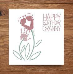 Personalised Custom Baby Child Kids Footprint Flower Card Granny Grandpa Happy Birthday Miss You Thi Baby Footprint Art, Footprint Crafts, Baby Handprint Ideas, Handprint Art, Birthday Cards To Print, Happy Birthday Grandma, Grandma Cards, Baby Artwork, Baby Painting