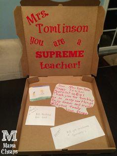 Pizza Box Teacher Appreciation Gift – Dinner & a Movie!  Fun way to thank a SUPREME teacher.  :)