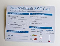 """This is the best RSVP card I've ever seen.  I think I would add another wine glass to the """"drinks"""" portion of the chart..."""