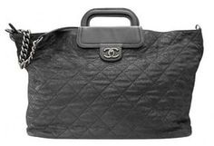 4f06bce3756e Chanel excellent (EX Glazed Quilted Leather XL Weekender Duffel Chain Tote  Bag - ShopStyle