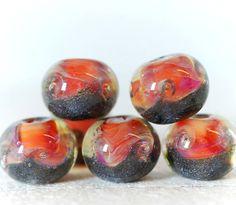 Borosilicate lampwork glass beads Gothic Barbie-W
