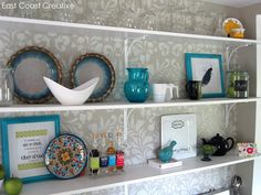 Fabric Damask wall stencil behind open shelving in a kitchen. East Coast Creative: Done...for now! {Kitchen Renovation Update} Damask Wall Stencils, Stencil Patterns, Royal Design, Transitional House, Kitchen Shelves, Wall Treatments, Fabric Wallpaper, Open Shelving, Diy Furniture