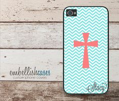 iPhone 5s case, iphone 4 case, monogrammed personalized with your name or initials, galaxy s4 coral and teal chevron cross christian case