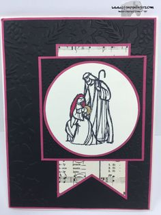 Stampin' Up! All Ye Faithfull with Home for Christmas DSP and the Boughs & Berries and Elegant Dots TIEF. http://stampsnlingers.com/2015/10/02/stampin-up-all-ye-faithful-in-black-and-rose-red-wait-what/