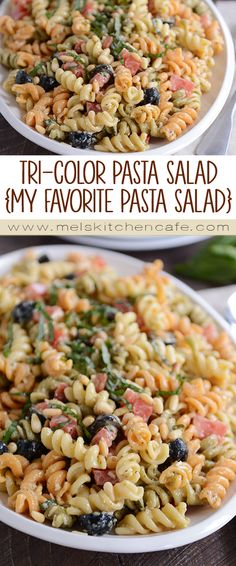 Simple to prepare, this tri-color pasta salad is the best ever! The creamy dressing, with a hint of pesto, is so flavorful and delicious!